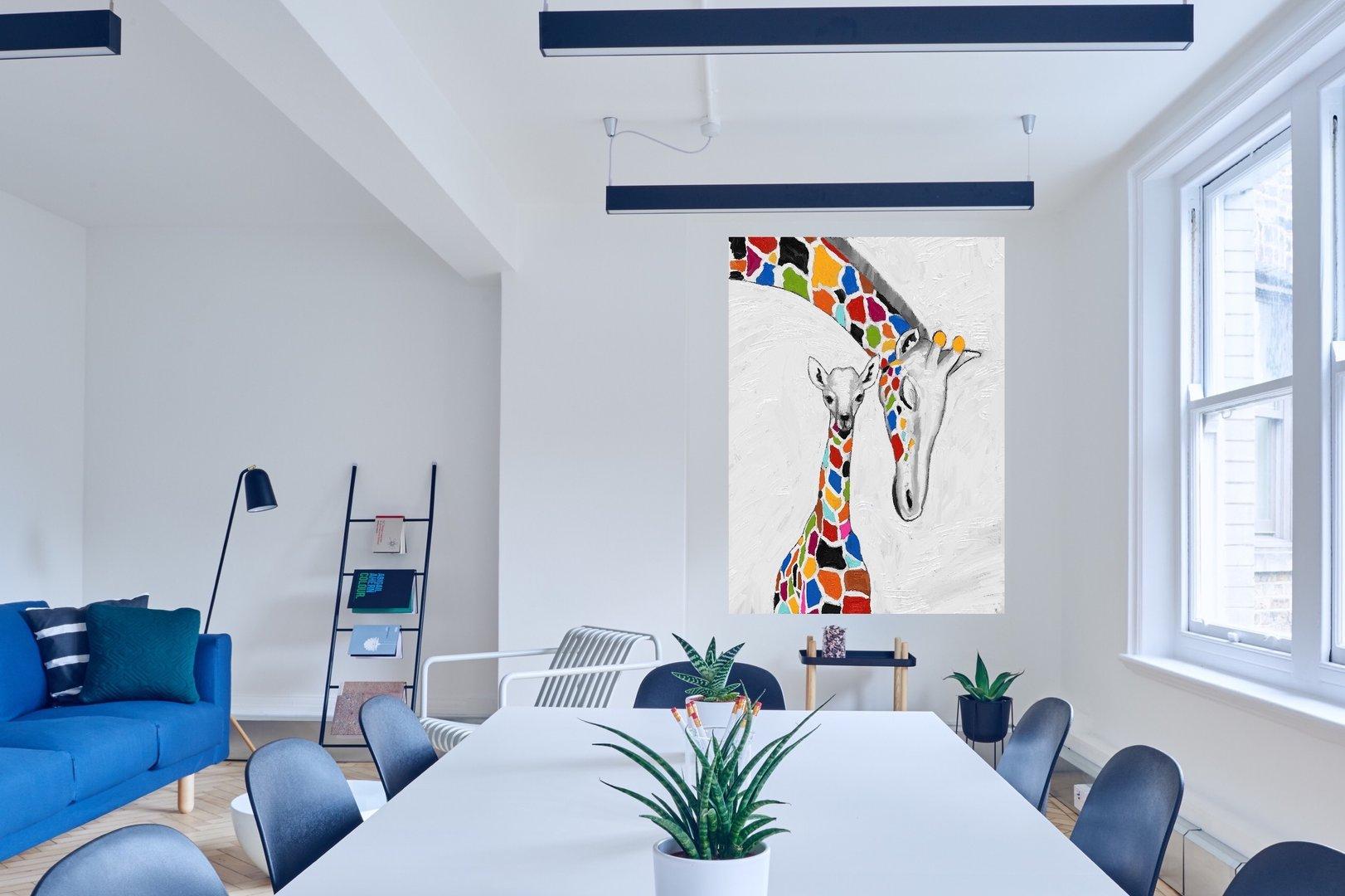 Cuadro moderno tnico jirafas pintado tienda de cuadros - Cuadros modernos ...