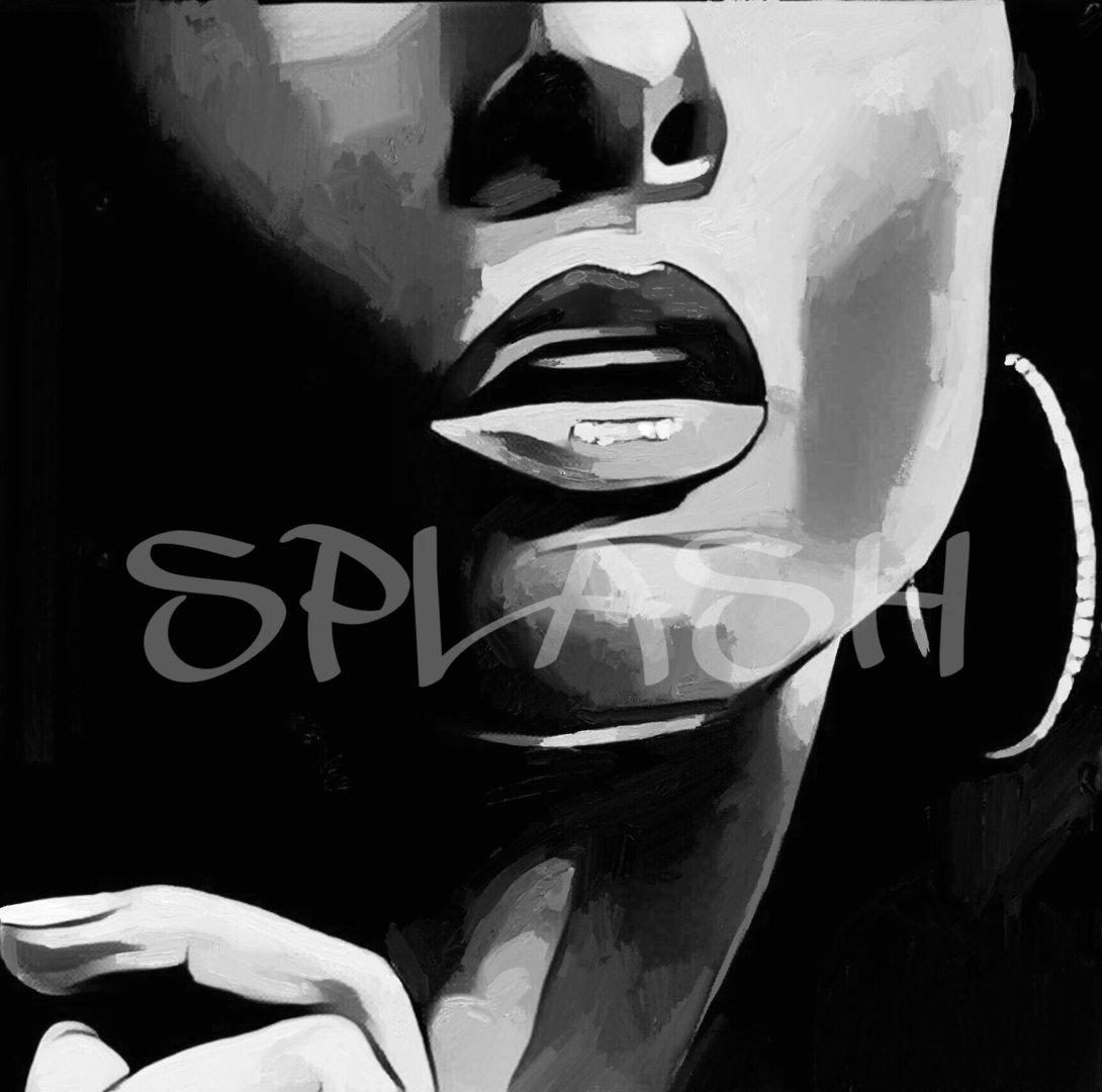 primer plano de rostro femenino en blanco y negro 2 sp007 - Cuadros En Blanco Y Negro