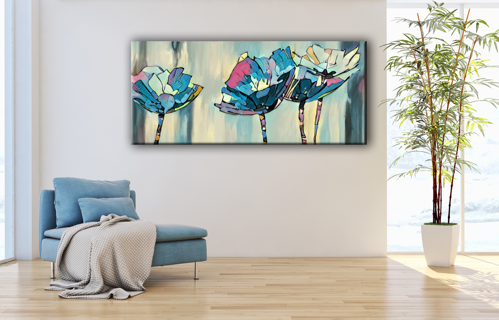 Cuadros modernos de flores color azul tiendas de cuadros splash - Cuadros juveniles modernos ...