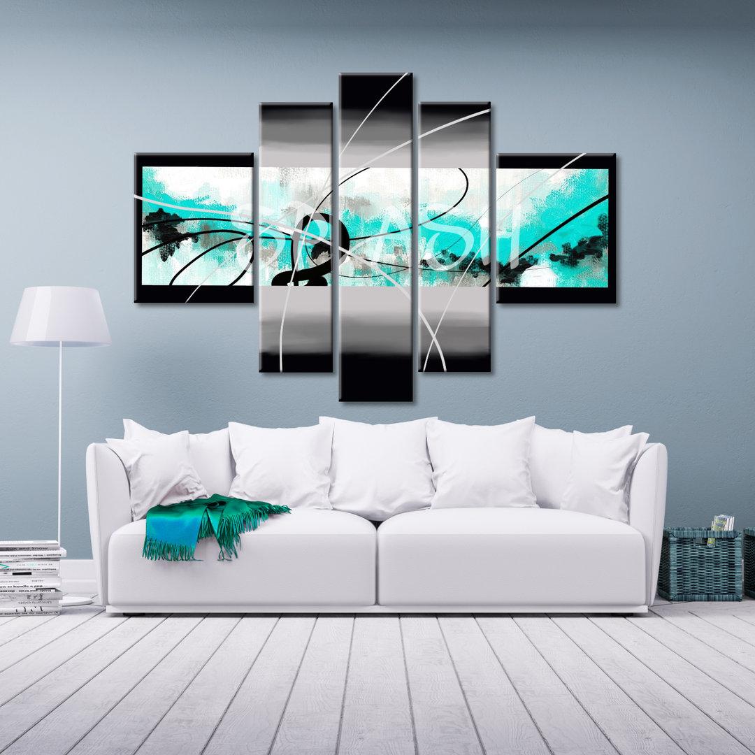 Cuadro expresi n abstracta turquesa cuadros modulares splash - Cuadros pintados a mano online ...