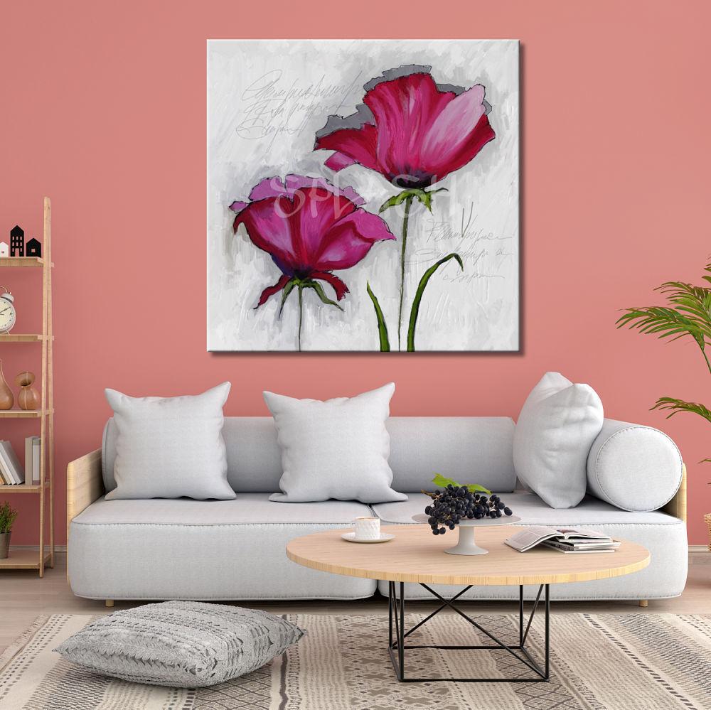 Cuadro de flores magenta y fondo blanco cuadros splash - Cuadros pintados a mano online ...