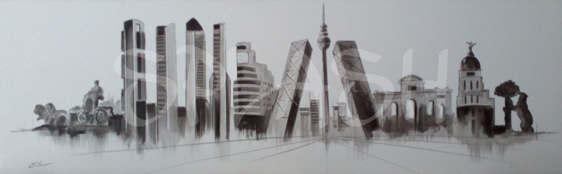 Cuadro skyline madrid blanco y negro tiendas de cuadros de - Dormitorios blanco y negro ...