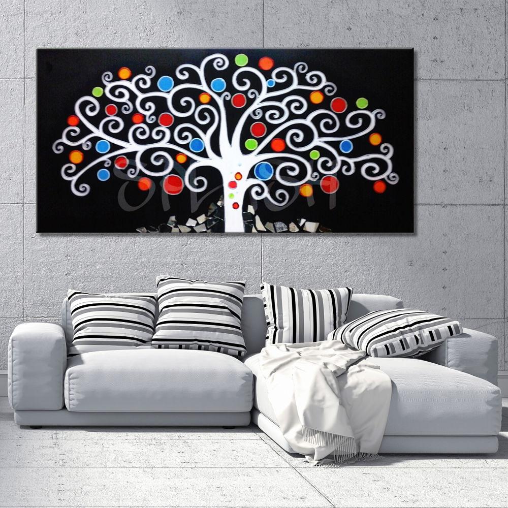 Cuadro arbol de la vida negro tienda de cuadros modernos - Cuadros pintados a mano online ...