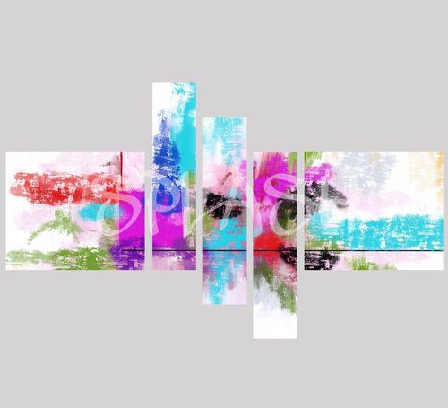 abstracto modular en turquesa y malvas sp