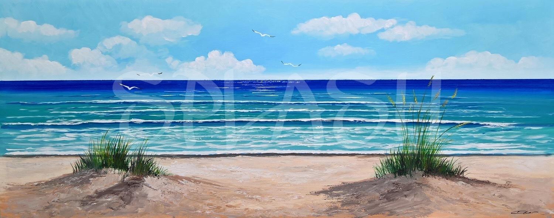 Cuadro Playa azul con gaviotas Cuadros de Marinas Modernas Splash