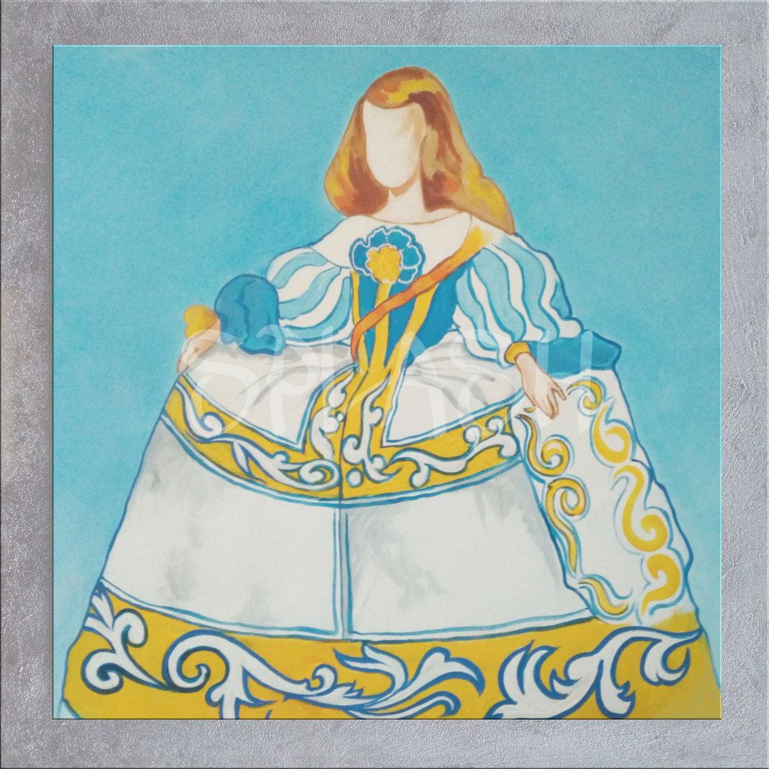 Cuadros Meninas Modernas marco plata azul amarillo Talavera|Cuadros ...