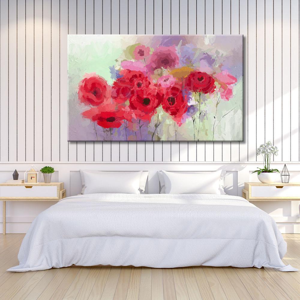 Cuadros de flores abstractos color rojo rosa malva cuadros - Cuadros pintados a mano online ...