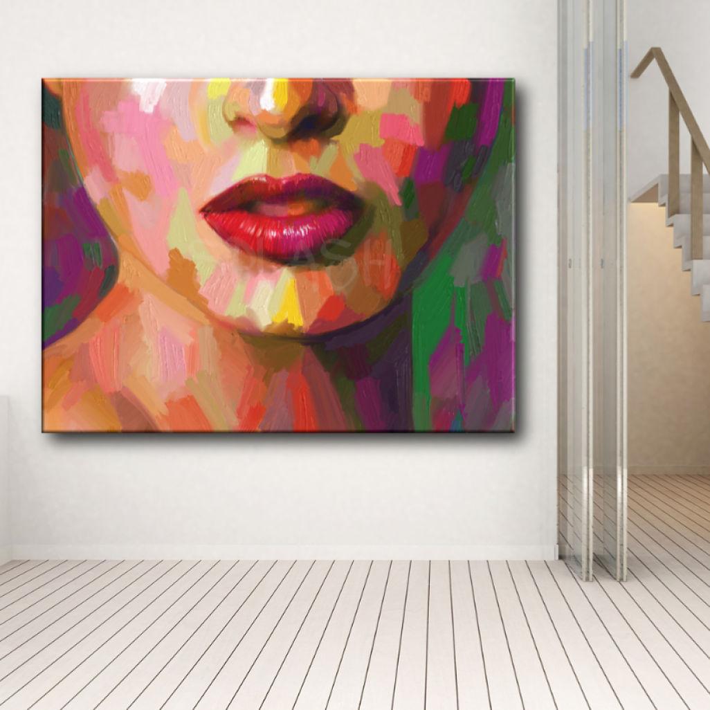 Cuadros figurativos modernos cara de mujer colores labios - Cuadros pintados a mano online ...