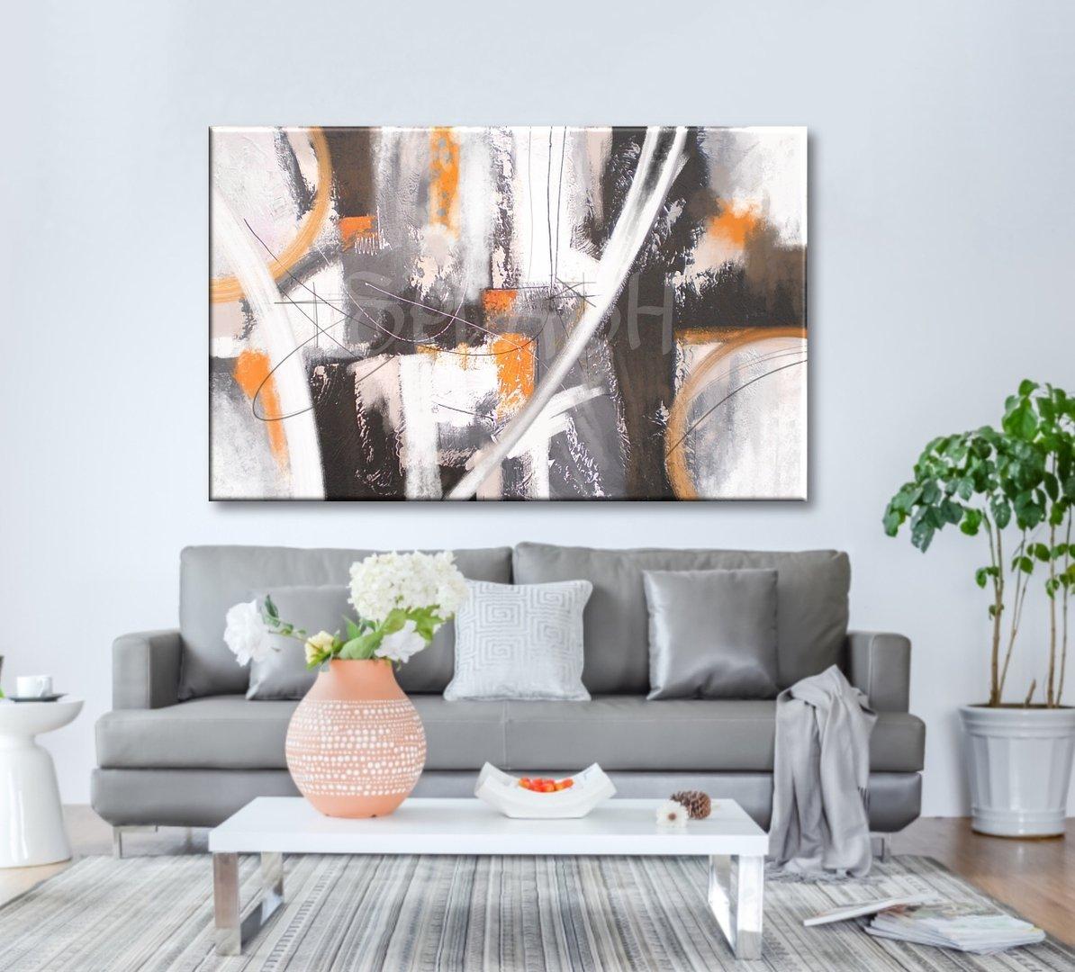 Cuadros abstractos blanco gris ocre texturas modernos - Decoracion de cuadros ...