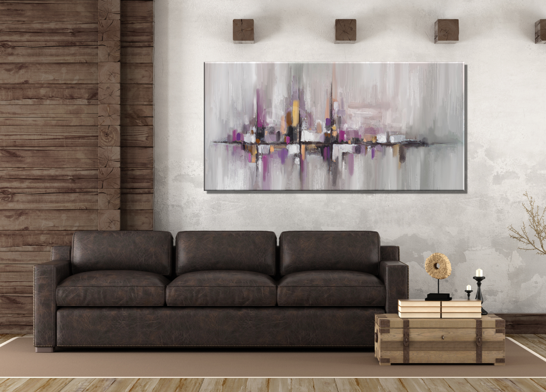 Cuadros abstractos modernos grises malva salones - Cuadros retroiluminados baratos ...