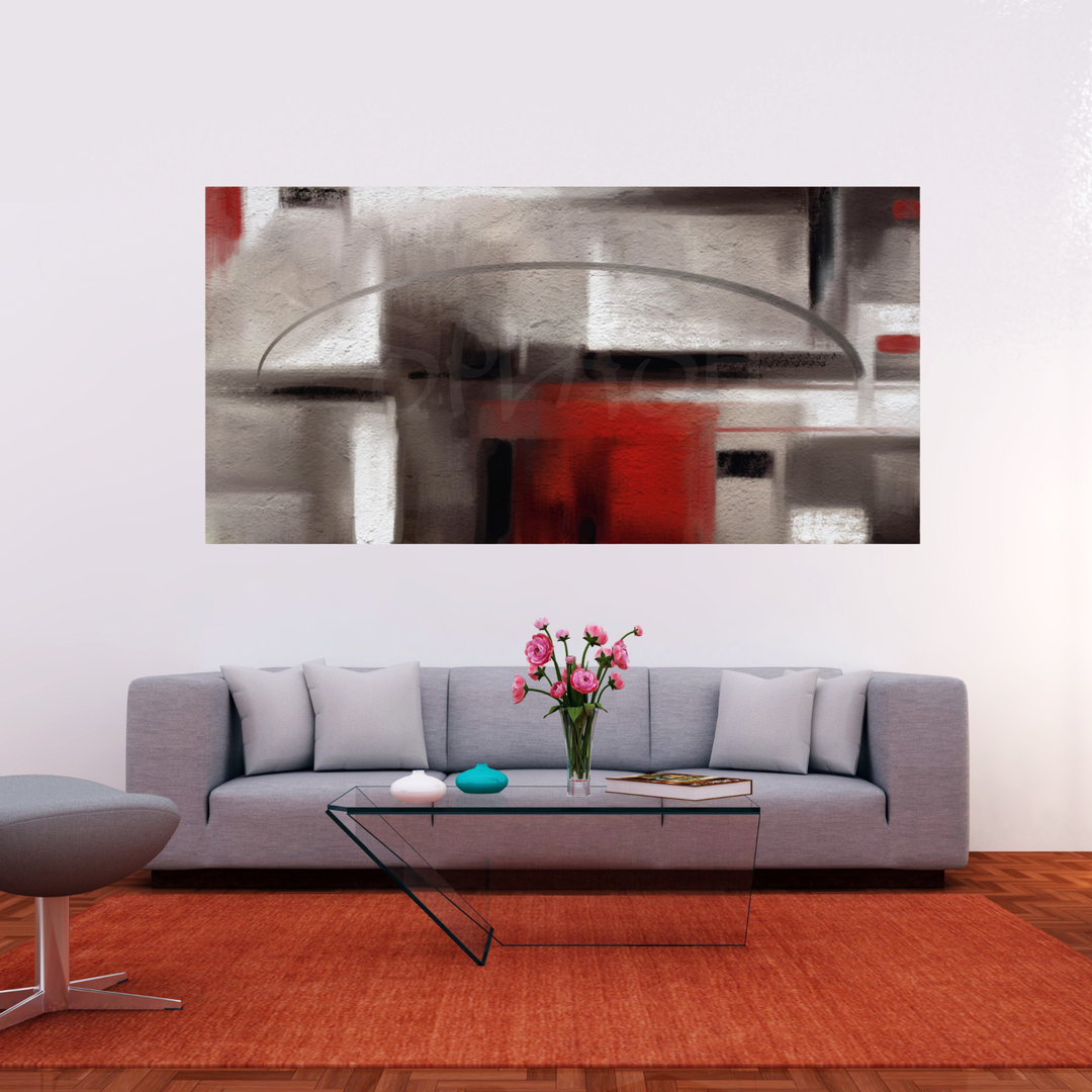 Cuadros abstractos con textura gris rojo y negro para - Cuadros pintados a mano online ...