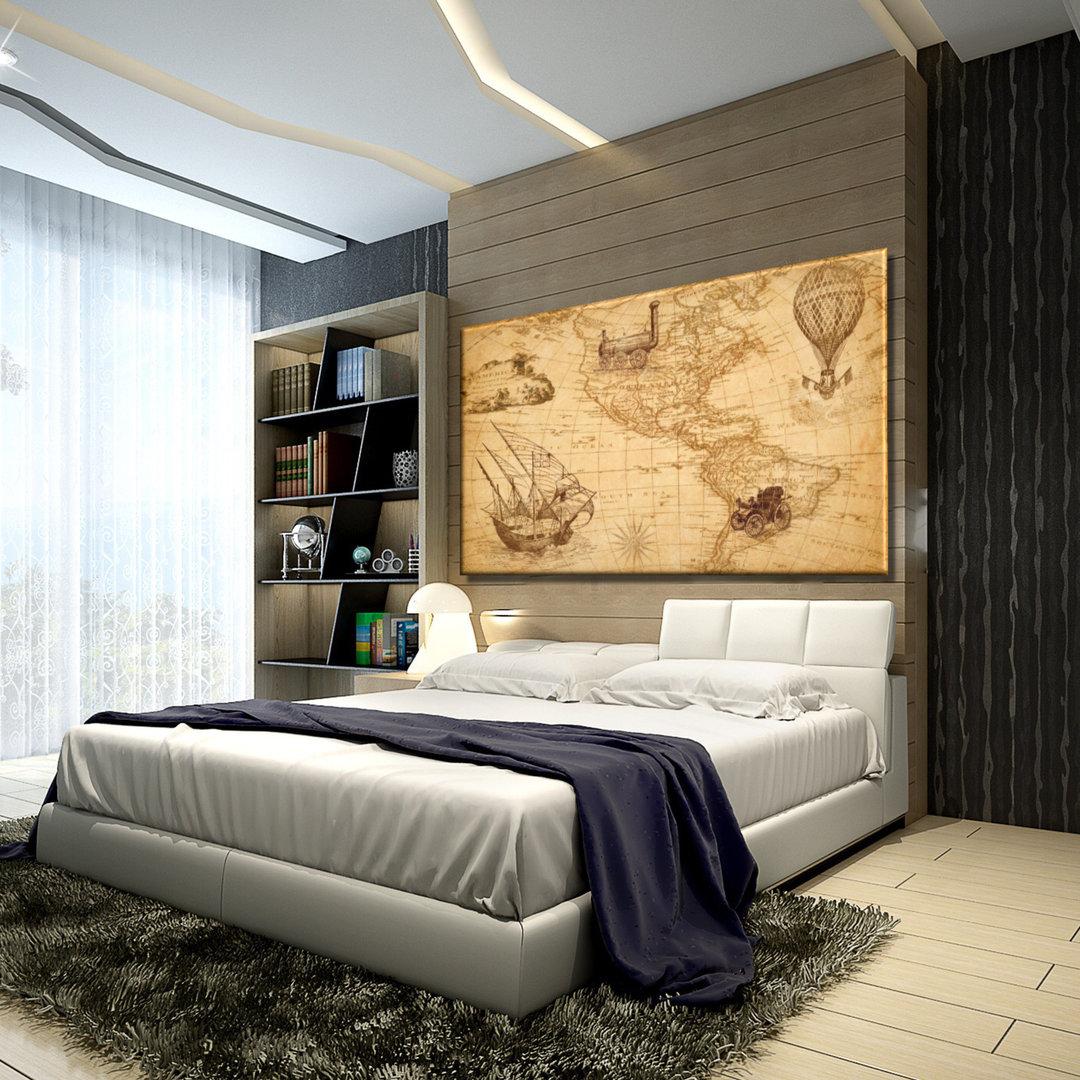 Cuadros Para Dormitorios Clasicos.Cuadro Mapamundi Vintage Ocres Impreso En Lienzo Cuadros Splash
