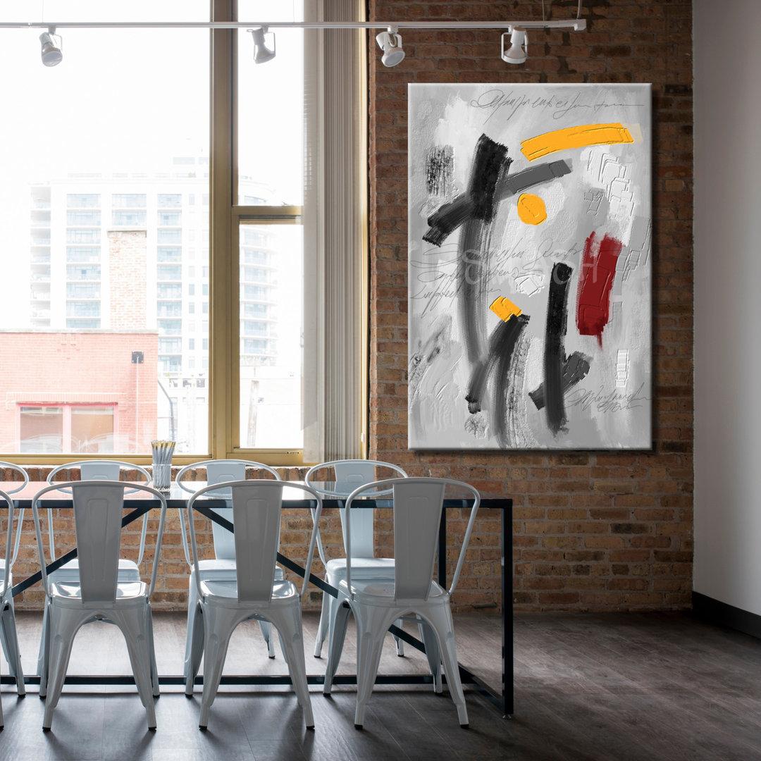 Cuadro abstracto pintado blanco y negro amarillo y rojo textura ...