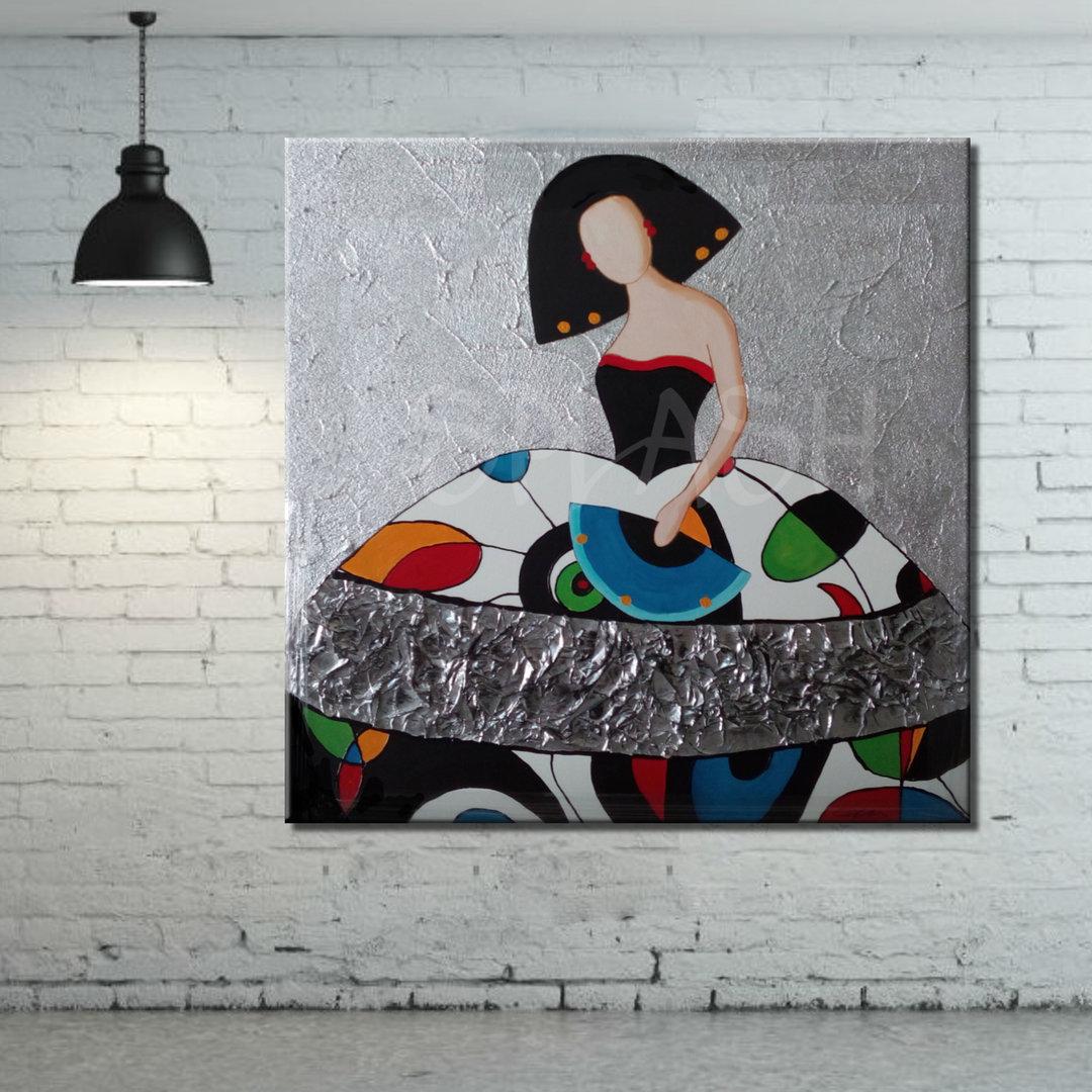 Cuadro menina mosaico de colores collage pintado cuadros - Cuadros de meninas modernos ...