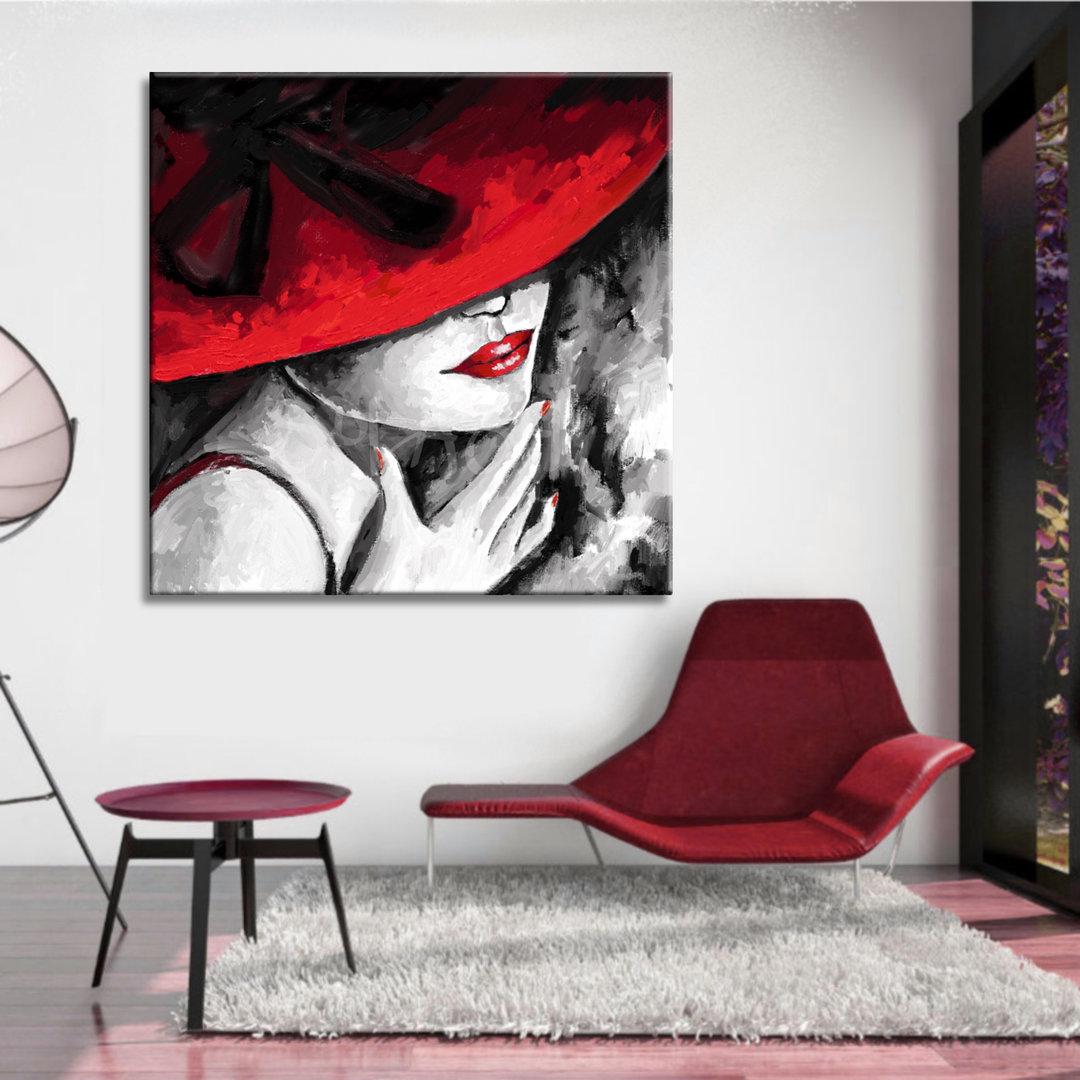 Cuadro de dama con sombrero rojo y lazo pintado  6c12b6e5c4f