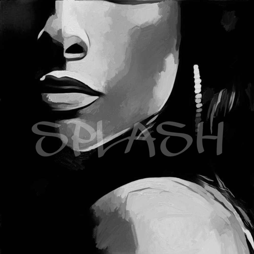 primer plano de rostro femenino en blanco y negro 1 sp006 - Cuadros En Blanco Y Negro