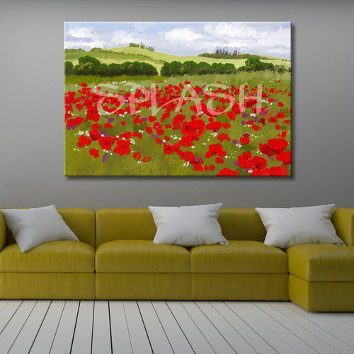 Modern landscape painting poppies