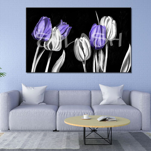 Mauve and white tulips flowers painting