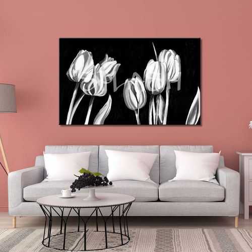 Tulips flowers in black & white