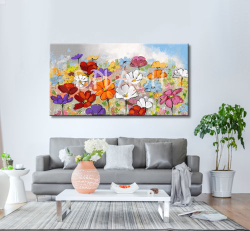Multicoloured floral motifs painting