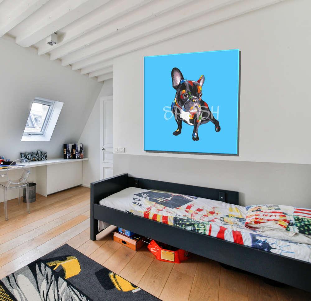 Cuadro Mascota Bulldog En Azul Pintado Cuadros Splash - Cuadros-dormitorio-juvenil