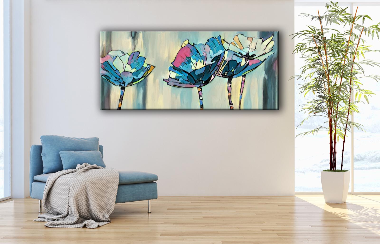 Cuadros modernos de flores color azul tiendas de cuadros splash - Lienzos para dormitorios ...
