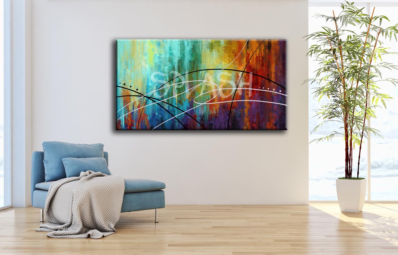 Cuadros abstractos cuadro multicolor moderno cuadros splash for Cuadros abstractos baratos