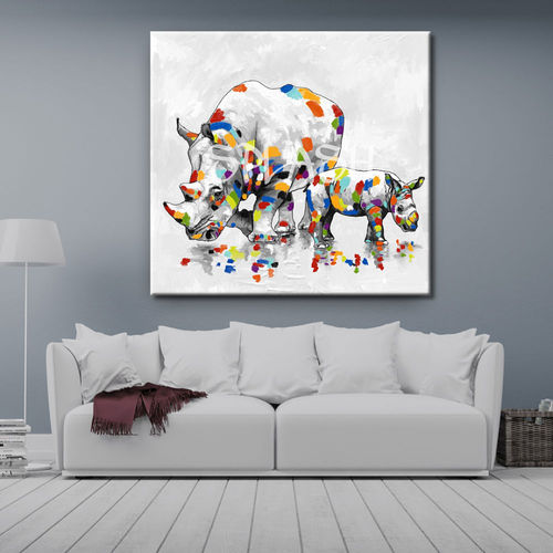 Couple ethnic painting of Rhinoceroses