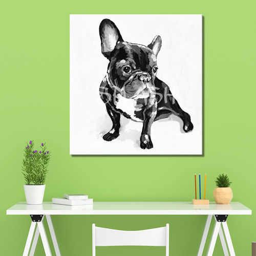 French Bulldog black and white painting