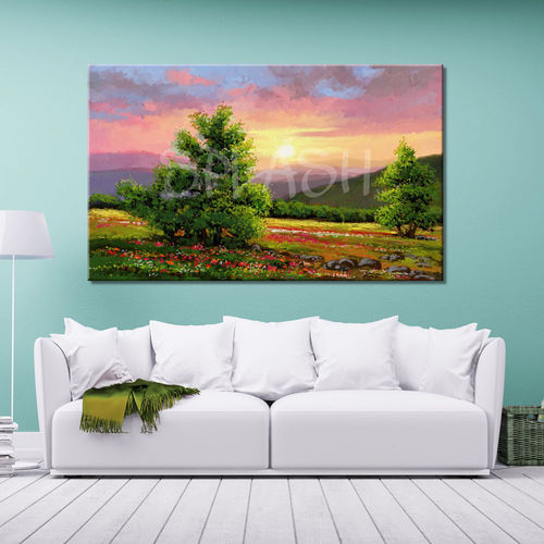 Landscape Painting Sunrise Country