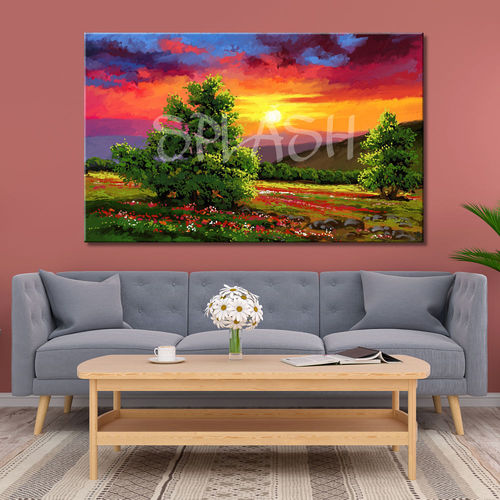 Painting Country Landscape at Sunset