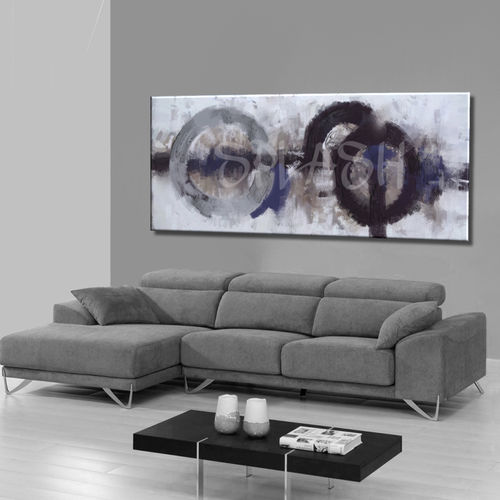 Abstract painting black and grey forge