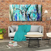 Abstract Turquoise Blue Dance Painting