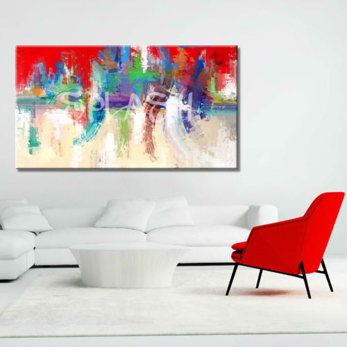 Abstract disordered red painting