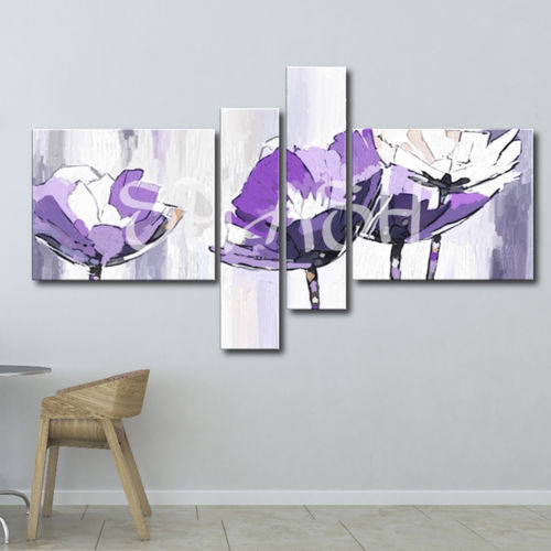 Modular painting with mauve flowers
