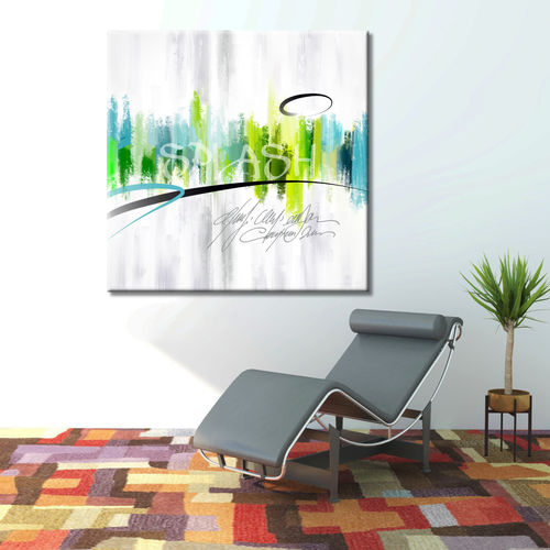 Abstract Green forest painting