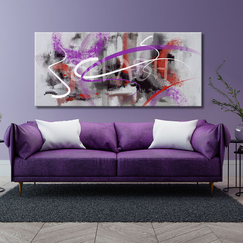 Grey & Mauve Brushstrokes abstract painting