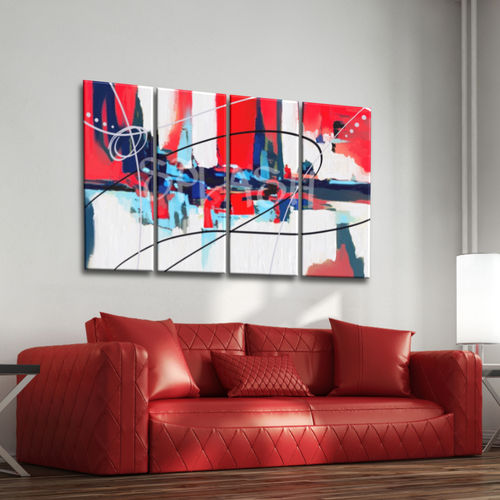 Abstract Modular Painting red blue