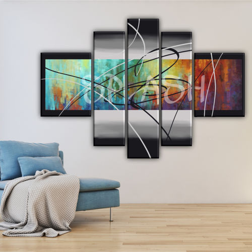 Modular multicolour turquoise abstract painting