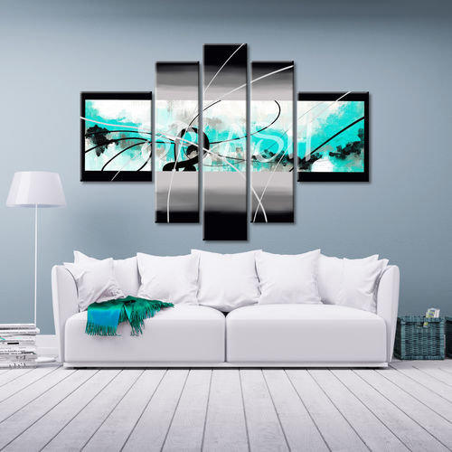 Abstract Expression Turquoise painting