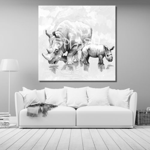 Ethnic Paintings Rhinoceros in Grey