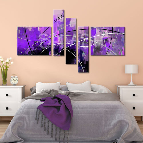 Mauve in 5 pieces abstract painting