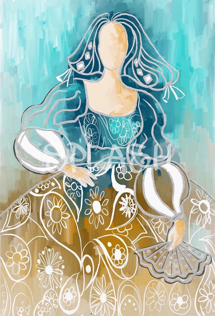 Cuadro de menina colores turquesa y sepia cuadros splash - Cuadros de meninas modernos ...