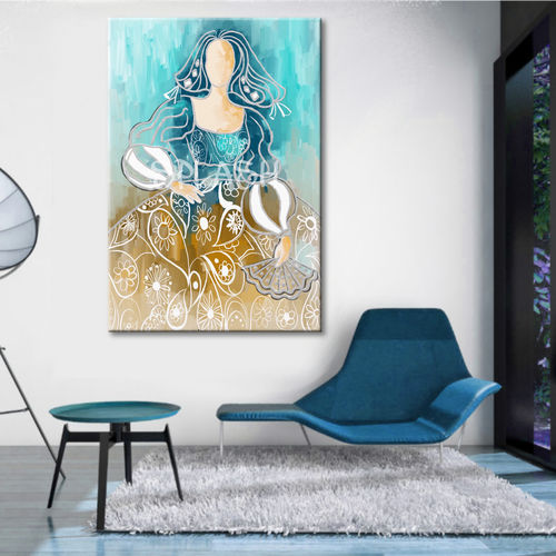 Menina colors turquoise and sepia painting