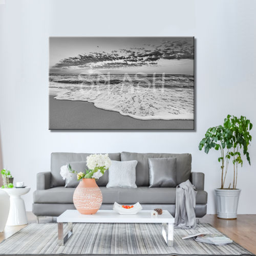 Black and white seascape painting