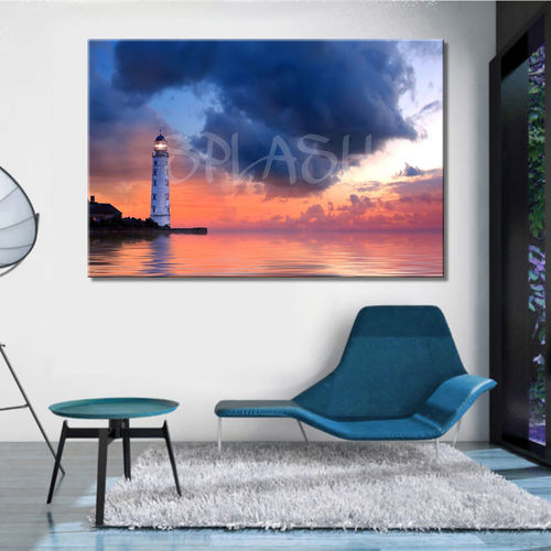 Seascape Painting with lighthouse