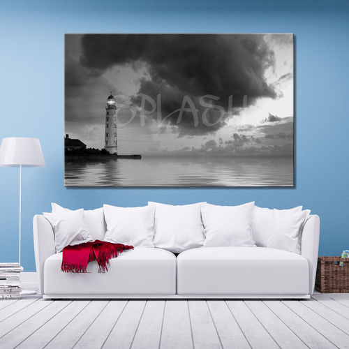 Painting with black and white lighthouse