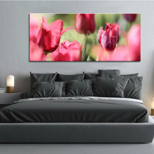 Flowers with red tulips painting