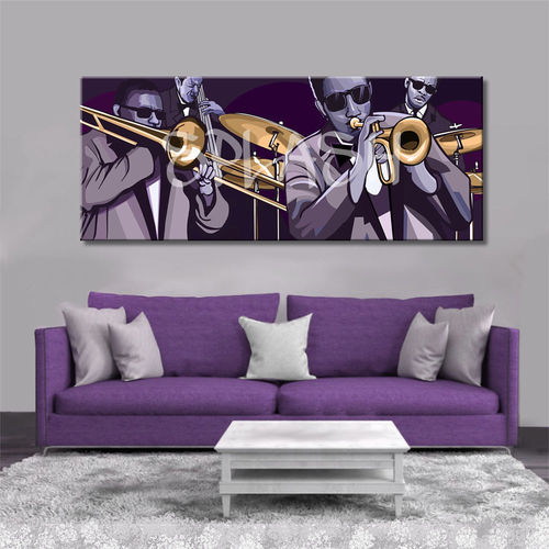 Painting Orchestra Jazz musicians printed