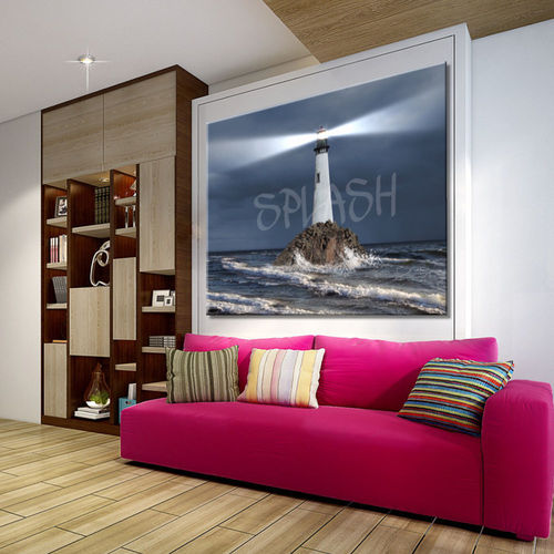 Seascape painting with lighthouse & waves